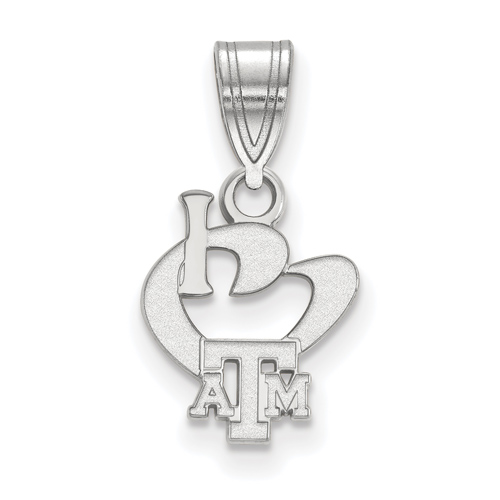 Sterling Silver 1/2in I Love Texas A&M University Logo Pendant
