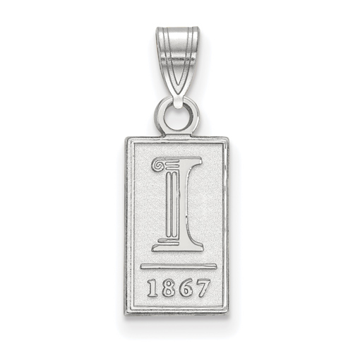 Sterling Silver 1/2in University of Illinois 1867 Pendant