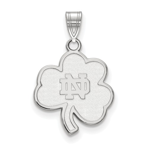 Sterling Silver 3/4in University of Notre Dame Clover Pendant