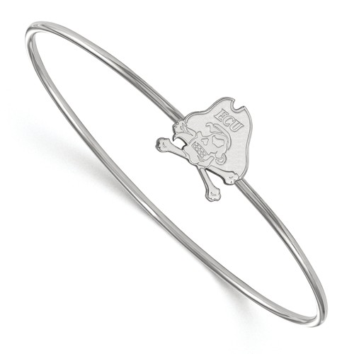Sterling Silver 8in East Carolina University Wire Bangle