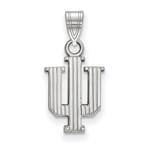 Sterling Silver 1/2in Indiana University Striped Logo Pendant