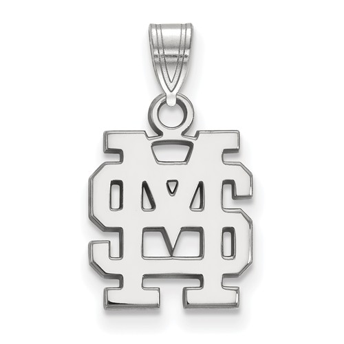 Mississippi State University MS Charm 1/2in 10k White Gold