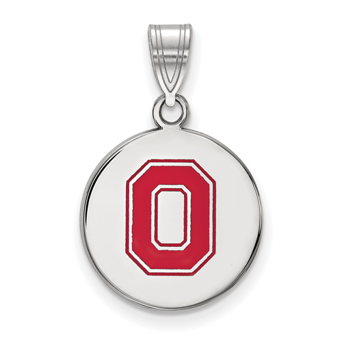 Sterling Silver 5/8in Ohio State University Enamel Block O Disc Pendant