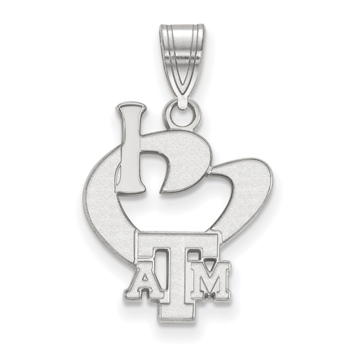 Sterling Silver I Love Texas A&M University Logo Pendant