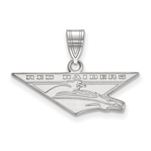 Sterling Silver 1/2in Texas Tech Red Raiders Pendant
