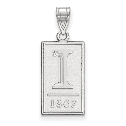 Sterling Silver 3/4in University of Illinois 1867 Pendant