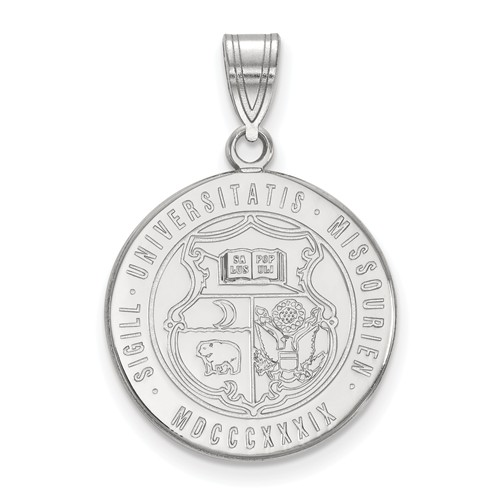 Sterling Silver 3/4in University of Missouri Crest Pendant