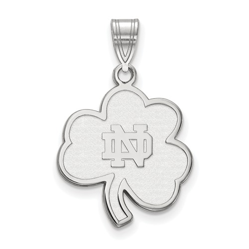 Sterling Silver 7/8in University of Notre Dame Clover Pendant