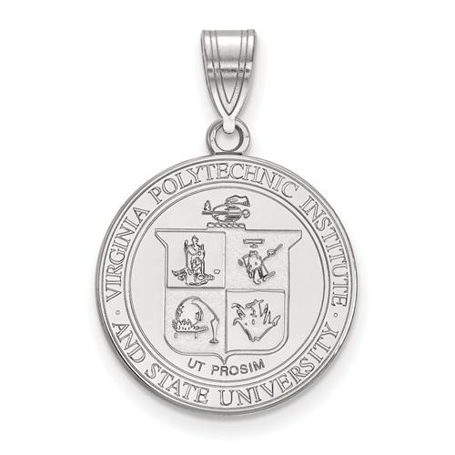Sterling Silver Virginia Tech Crest Pendant 3/4in