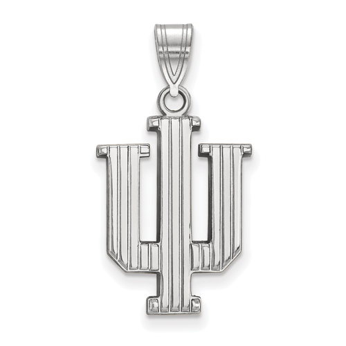 Sterling Silver 3/4in Indiana University Striped Logo Pendant