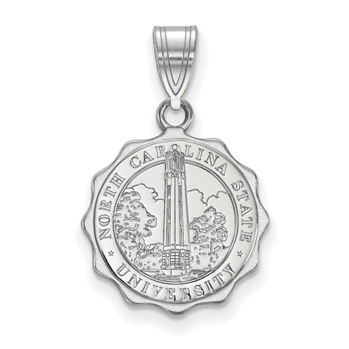 Sterling Silver 5/8in North Carolina State University Crest Pendant