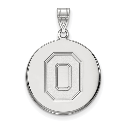 Sterling Silver 7/8in Ohio State University Block O Disc Pendant