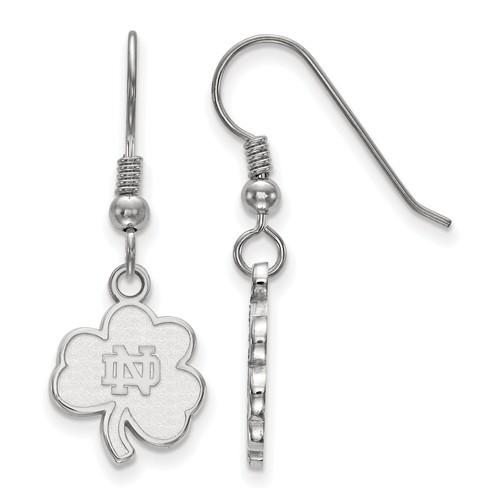 Sterling Silver University of Notre Dame Clover Dangle Wire Earrings