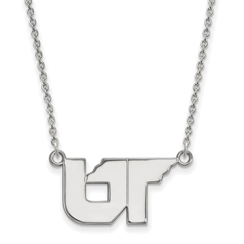 Sterling Silver 1/2in University of Tennessee UT Pendant with 18in Chain