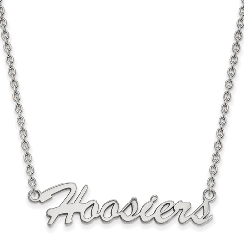 Sterling Silver Indiana University Hoosiers Pendant with 18in Chain