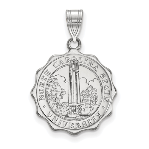 Sterling Silver 3/4in North Carolina State University Logo Disc Pendant