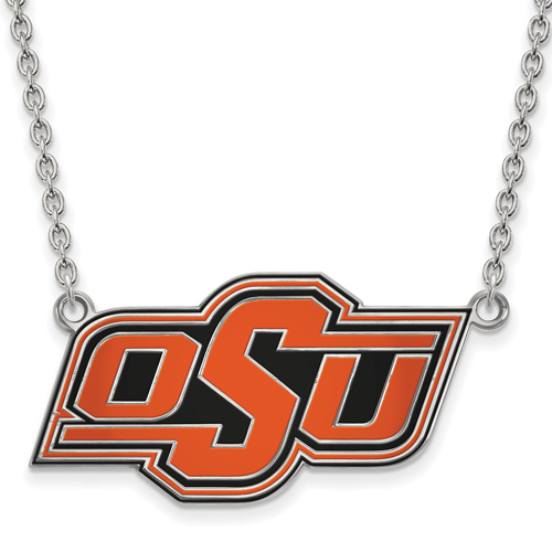 Silver Oklahoma State University OSU Enamel Pendant with 18in Chain