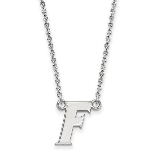 Silver 1/2in University of Florida Gators F Pendant with 18in Chain