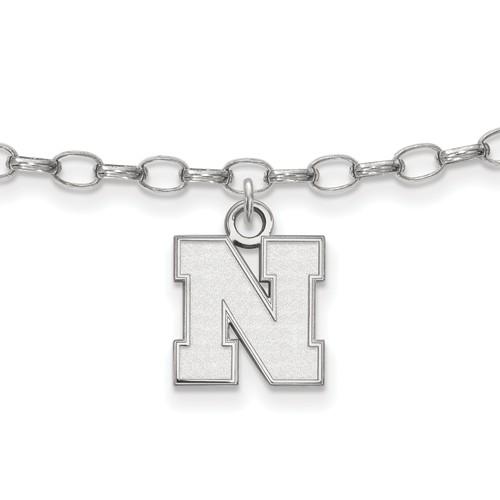 Sterling Silver 9in University of Nebraska Anklet