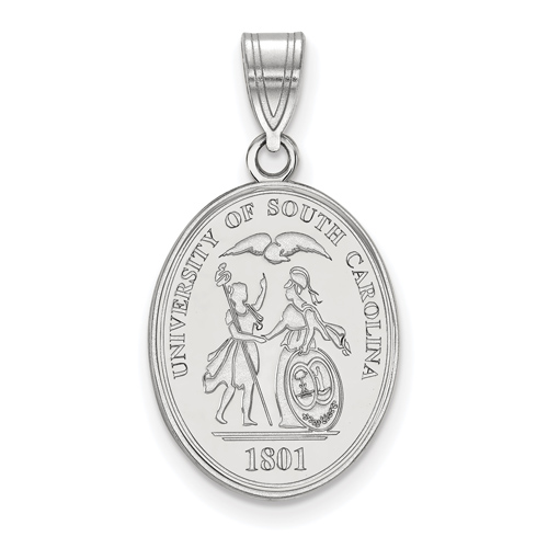 Sterling Silver 3/4in University of South Carolina Oval Crest Pendant