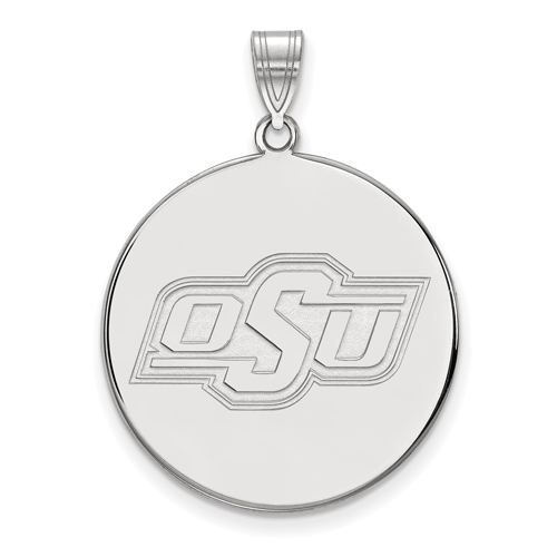 Sterling Silver 1in Oklahoma State University Round Pendant