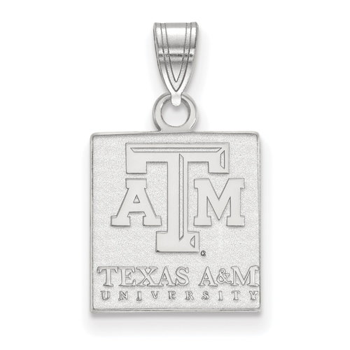 Sterling Silver 1/2in Texas A&M University Tablet Pendant
