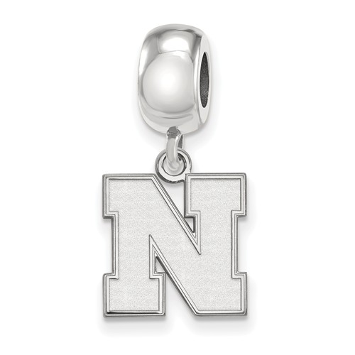 Sterling Silver University of Nebraska N Dangle Bead Charm