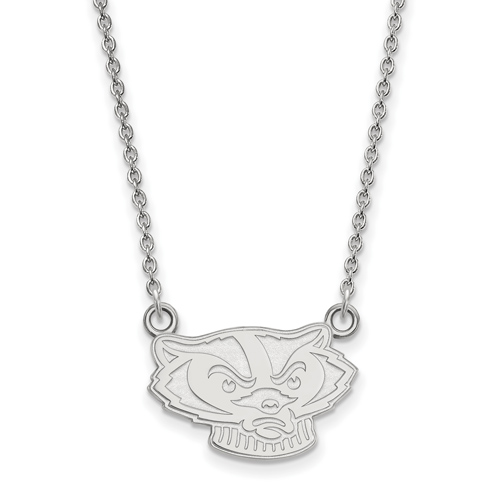 Sterling Silver 1/2in University of Wisconsin Badger Face Pendant with 18in Chain