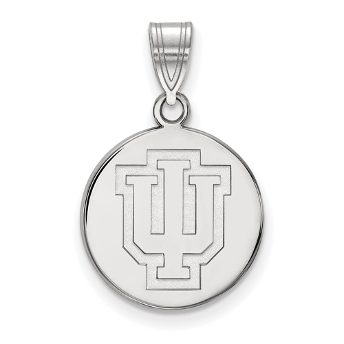Sterling Silver 5/8in Indiana University Outline Logo Disc Pendant