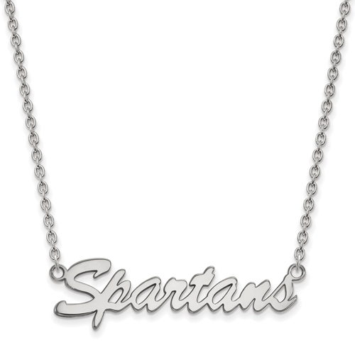 Sterling Silver Michigan State University Spartans Pendant with 18in Chain