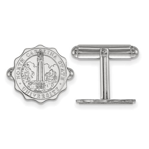 Sterling Silver North Carolina State University Crest Cuff Links