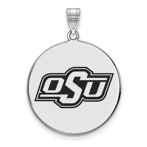 Sterling Silver 1in Oklahoma State University OSU Round Enamel Pendant