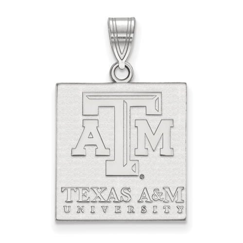 Sterling Silver 3/4in Texas A&M University Tablet Pendant