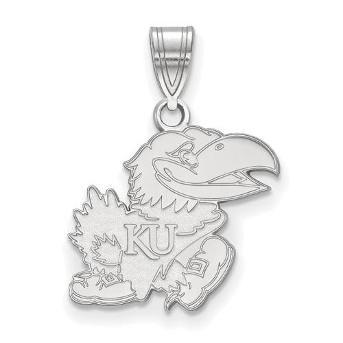 Sterling Silver 5/8in University of Kansas Jayhawk Pendant