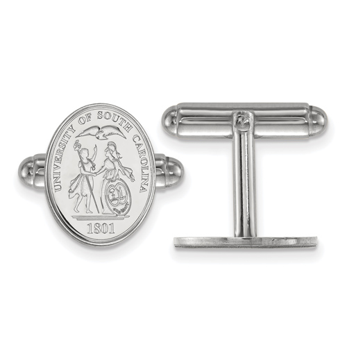 Sterling Silver University of South Carolina Crest Cuff Links