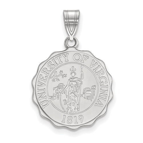 Sterling Silver 3/4in University of Virginia Crest Disc Pendant