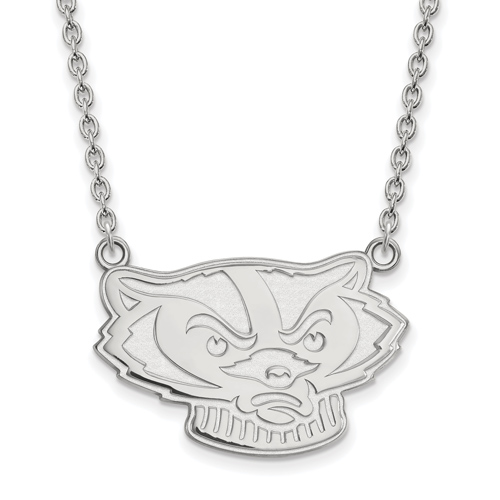 Sterling Silver University of Wisconsin Badger Face Pendant with 18in Chain