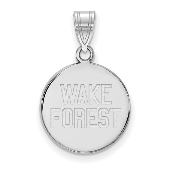 Wake Forest University Disc Pendant 5/8in Sterling Silver