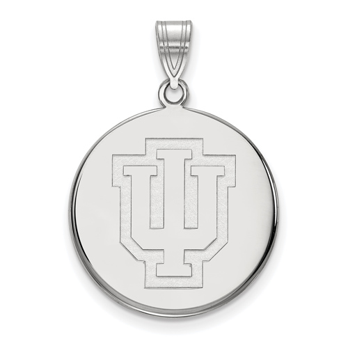 Sterling Silver 3/4in Indiana University Outline Logo Disc Pendant