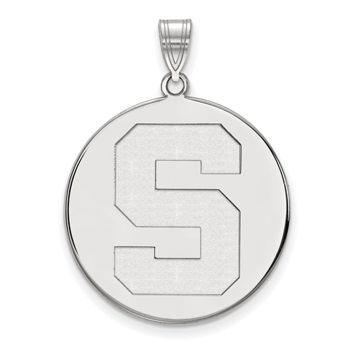 Sterling Silver 1in Michigan State University Block S Round Pendant