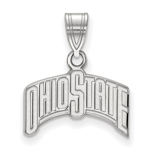 Sterling Silver 1/2in Ohio State University Arched Pendant
