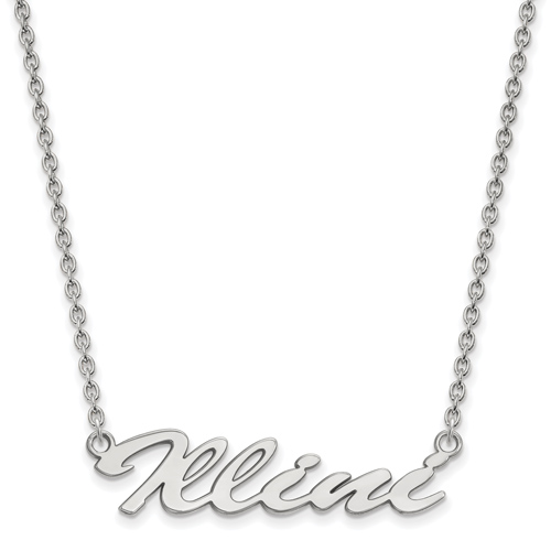 Sterling Silver University of Illinois Illini Pendant with 18in Chain