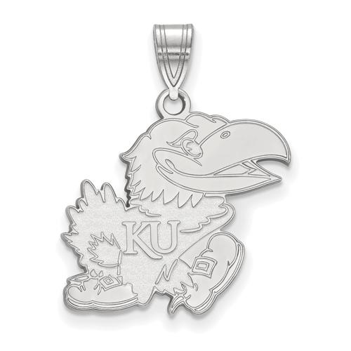 Sterling Silver 3/4in University of Kansas Jayhawk Pendant