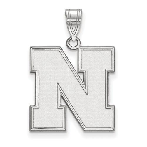 Sterling Silver 3/4in University of Nebraska Beveled N Pendant