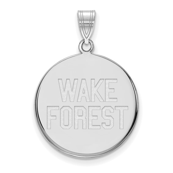 Wake Forest University Round Pendant 3/4in 14k White Gold
