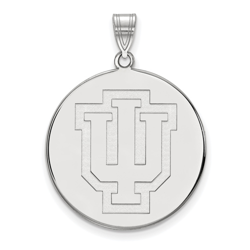 Sterling Silver 1in Indiana University Outline Logo Round Pendant