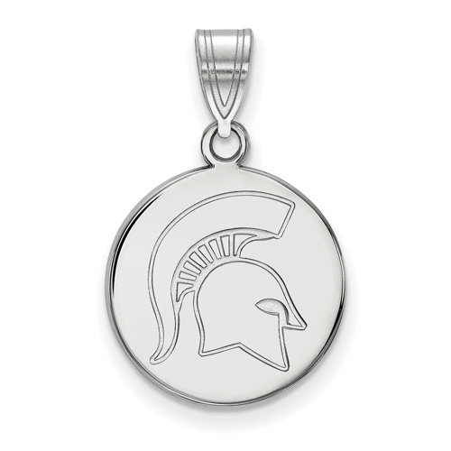 Sterling Silver 5/8in Michigan State University Spartan Helmet Round Pendant