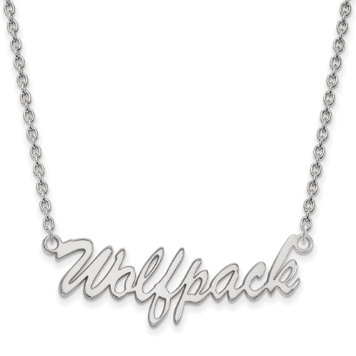 Silver North Carolina State Wolfpack Script Pendant with 18in Chain