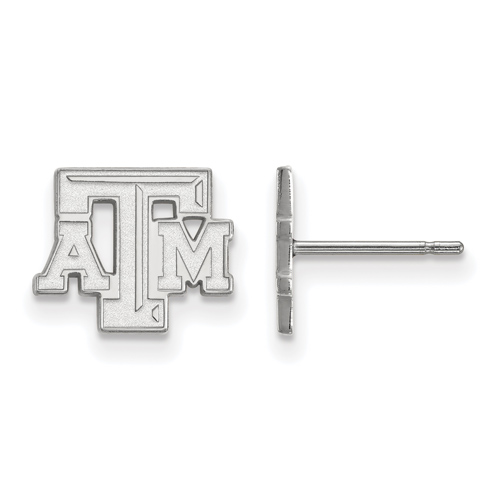 Sterling Silver Texas A&M University Beveled Extra Small Post Earrings