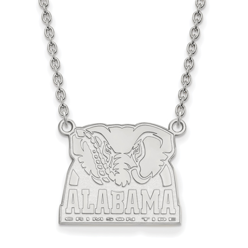 Sterling Silver University of Alabama Big Al Pendant with 18in Chain